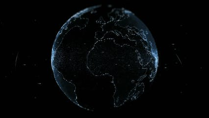 Digital Projection Of The Earth Mass In Blue Lights