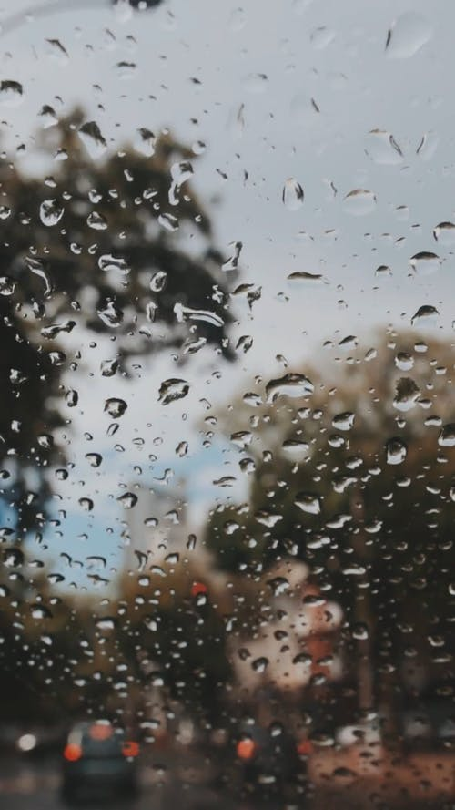 Glass Window With Water Droplets
