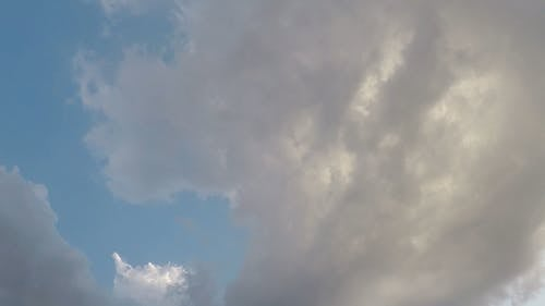 Movement Of Clouds Under A Blue Sky In Time-Lapse Mode
