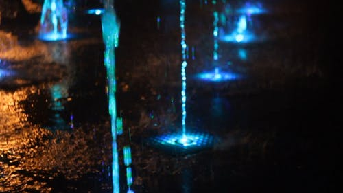 An Illuminated Water Fountain Attraction