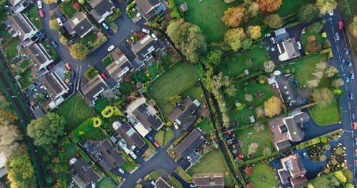 Drone Footage Of A Residential Community In An Urban Area