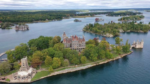 Drone Footage Of A Castle On An Island In Saint Lawrence River