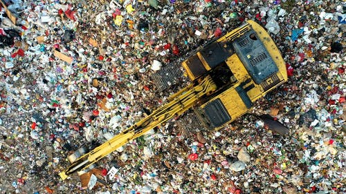 A Pile Of Trash In Bird's Eye View