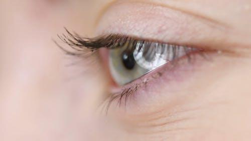 A Woman Applying Mascara On Her Left Eyelashes