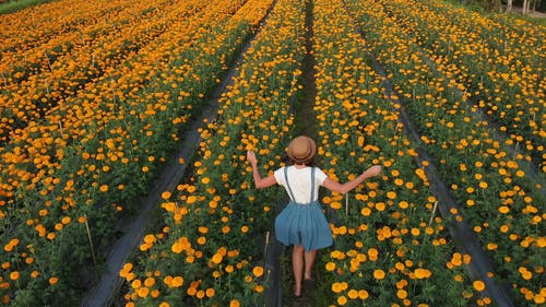 Woman Running In A Field Of Flowers