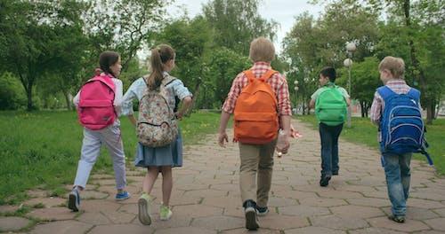 Kinder, Die Auf Einem Gepflasterten Weg Mit Ihren Rucksäcken Gehen