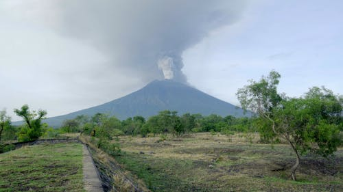 Erupting Volcano Spewing Pyroclastic Material