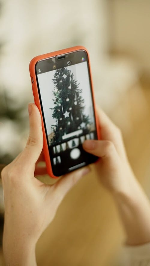 Taking Picture Of A Christmas Tree Using A Smart Cellular Phone