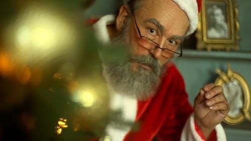 Santa Claus Peeking Behind A Christmas Tree