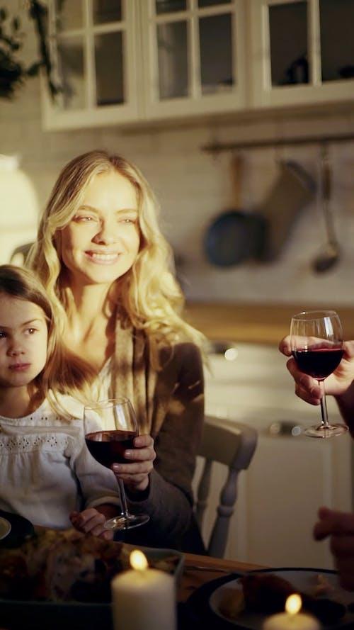 一家人为庆祝而抛杯酒