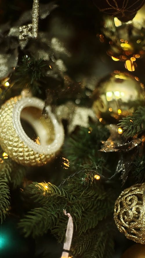 Christmas Ornaments In Close-Up View