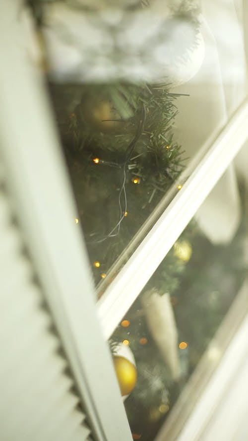 View Of A Christmas Tree Near A Window
