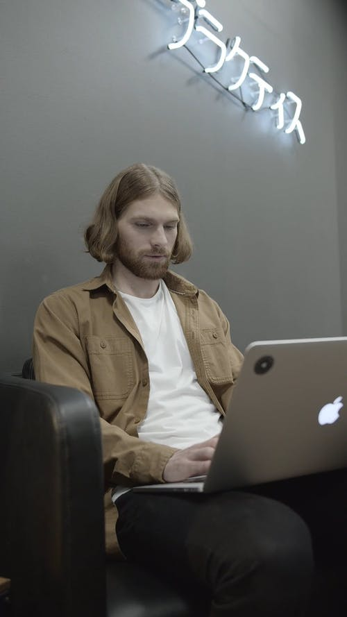 Man Working With His Laptop