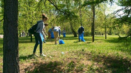 Grupo De Pessoas Recolhendo Lixo Em Um Parque