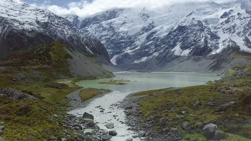 A River Valley Formed From The Mountains Melting Snow
