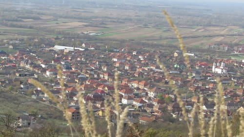 Aerial View Of A Town From A Mountain