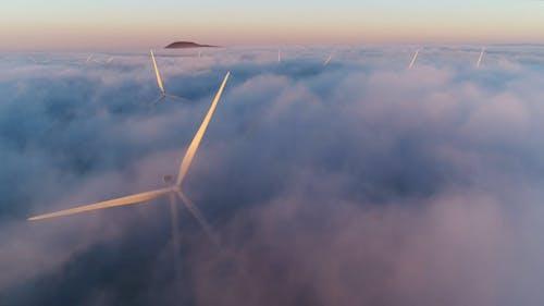 Wind Turbines On A Foggy Day