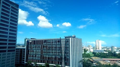 City Buildings Under A Blue Sky