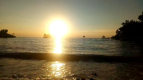 Sunset View Over The Sea Horizon From A Beach Shore