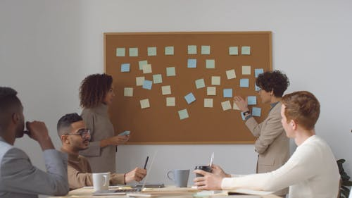 Group Of People Discussing About The Note Pads Stick On The Board