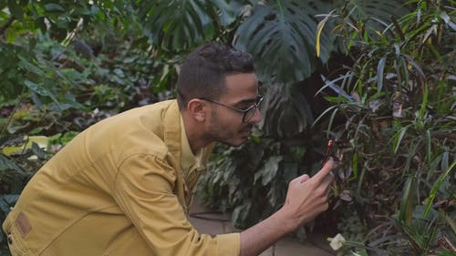 Footage Of A Man Getting Photo's Of The Plant