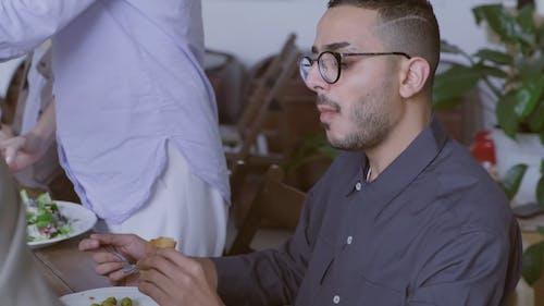 Man Eating Salad During Break Time