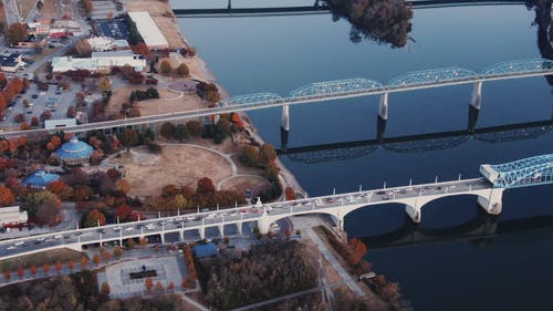 Drone Footage Of The Urban Landscape Of Chattanooga Tennessee