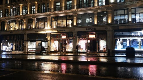 Stores Of Branded Clothing Lines Occupying A Building In Regent Street, London