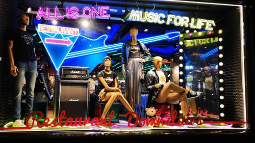 Glass Window Display Of Mannequins In Fashion