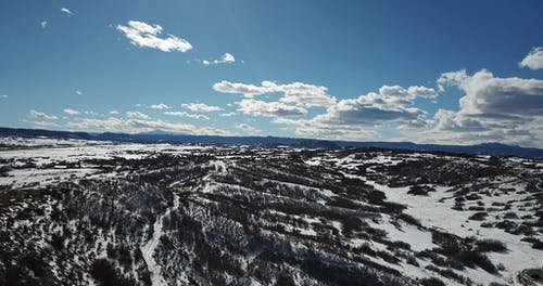 Drone Footage Of Snowcapped Mountain