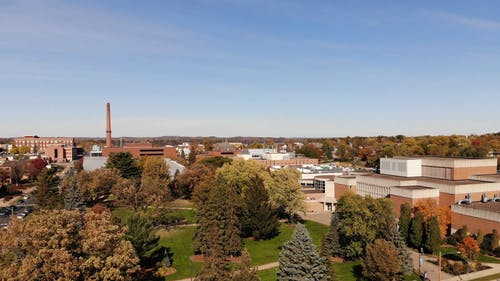 Drone Footage Of A Town During Autumn Season