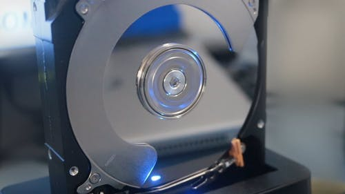 A Computer Hard Drive Part Spinning In Operation
