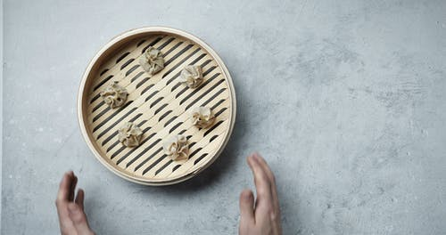 Fresh Dim Sum Set Up On A Bamboo Steam Tray For Cooking