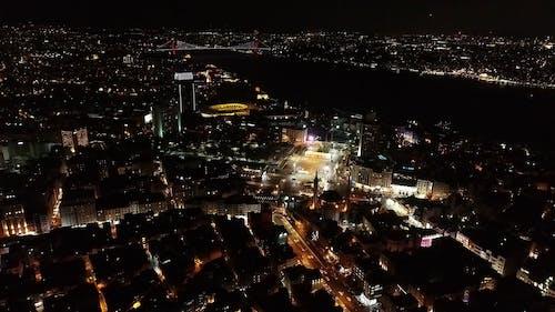 Luftaufnahmen Einer Stadt Bei Nacht
