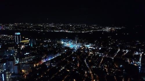 Luftaufnahme Einer Stadt Bei Nacht