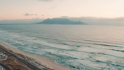 Aerial View Of The Beach Coastline Neat Cape Town Mountain