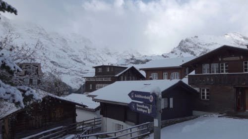 A Residential Community In A Mountain Valley Covered In Snow