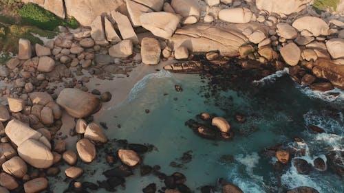 Drone Footage Of Big Rocks On The Seashore