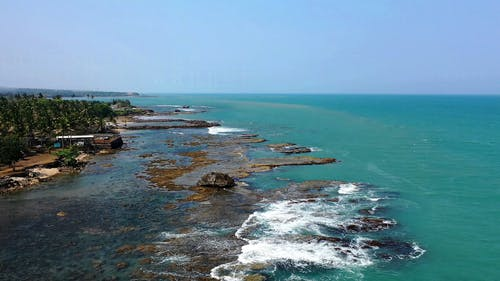 Natural Rock Formations On The Sea Shoreline In Banten, Indonesia