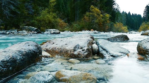 Boulders Of Rocks Formation On The Riverside Of A River In The Forest