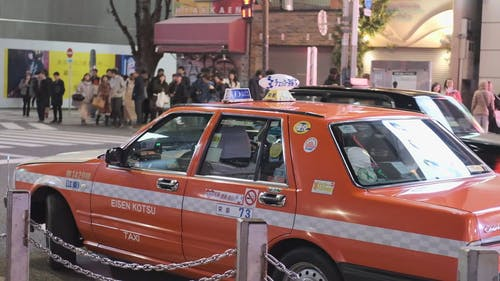 Taxi Cars Used For Public Transportation In Japan