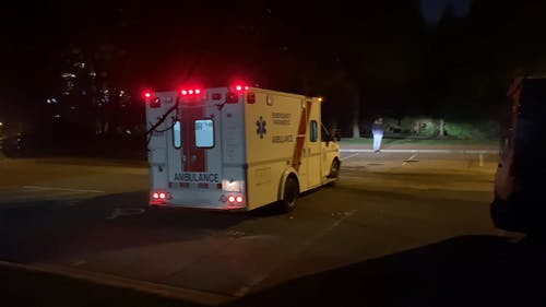 An Ambulance On Dispatch Responding To An Emergency Call