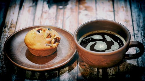 Muffin And Black Coffee For Breakfast
