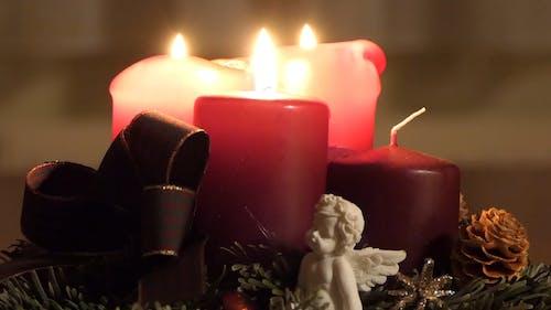 Brennende Kerzen Während Der Adventszeit Als Countdown Für Die Geburt Und Den Weihnachtstag