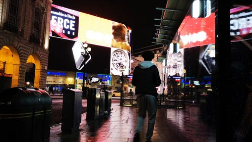 Giant Electronic Billboards Lighting Up Downtown London At Night