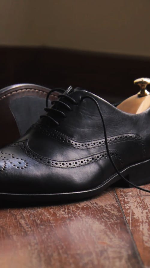 A Pair Of Nice Black Leather Shoes