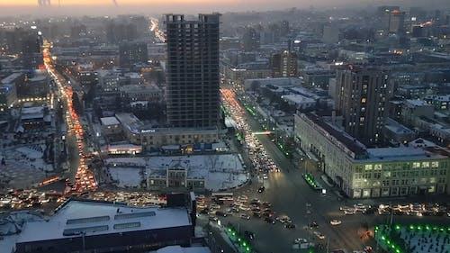 Motor Vehicles Traffic Congestion On A Progressing City