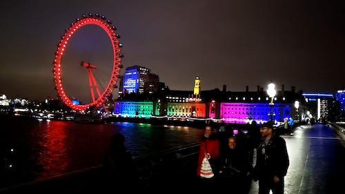 Neon Lights Display On The Buildings Behind The London Eye Observation Wheel