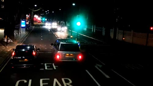 Footage Vehicle Crossing The Road Of The City In Time Lapse