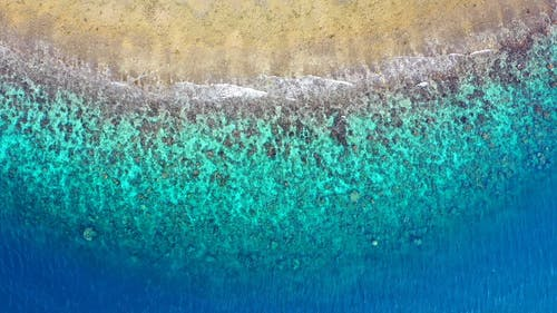 Aerial Footage Of Sea Waves Rushing To Shore